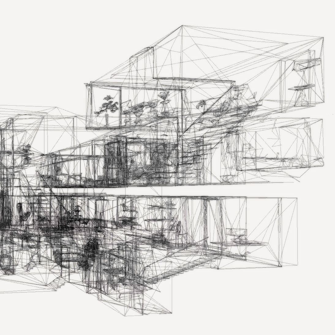 Wireframe of built space