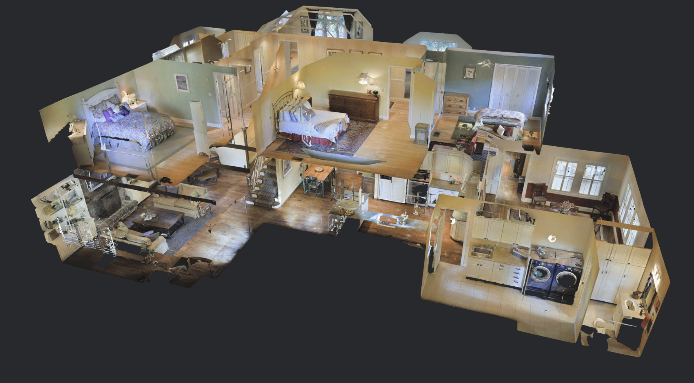 The dollhouse view found in the Matterport 3D digital twin and virtual tour