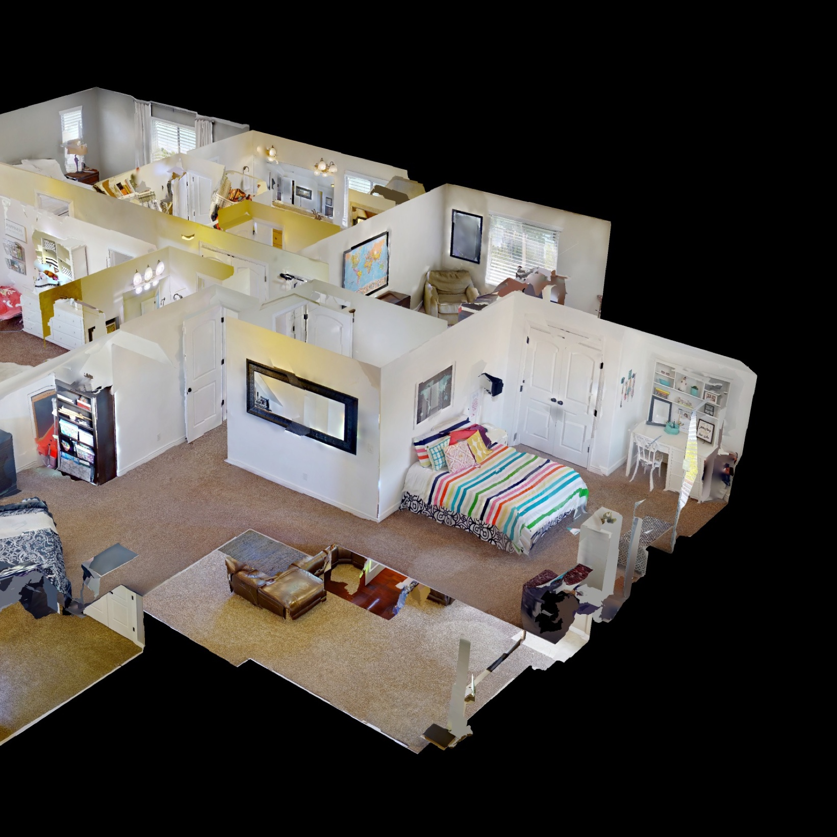 A bird's eye view of a Matterport model, mapping the rooms of a two-story house