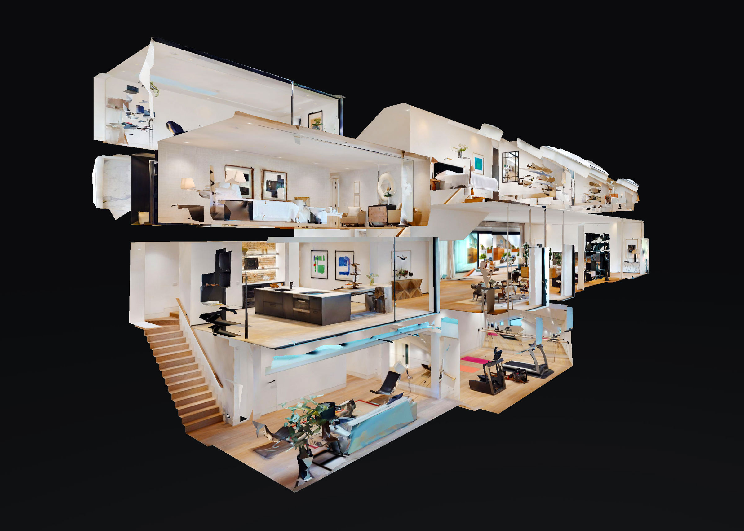 Comprehensive dollhouse view of the 3D digital twin experience