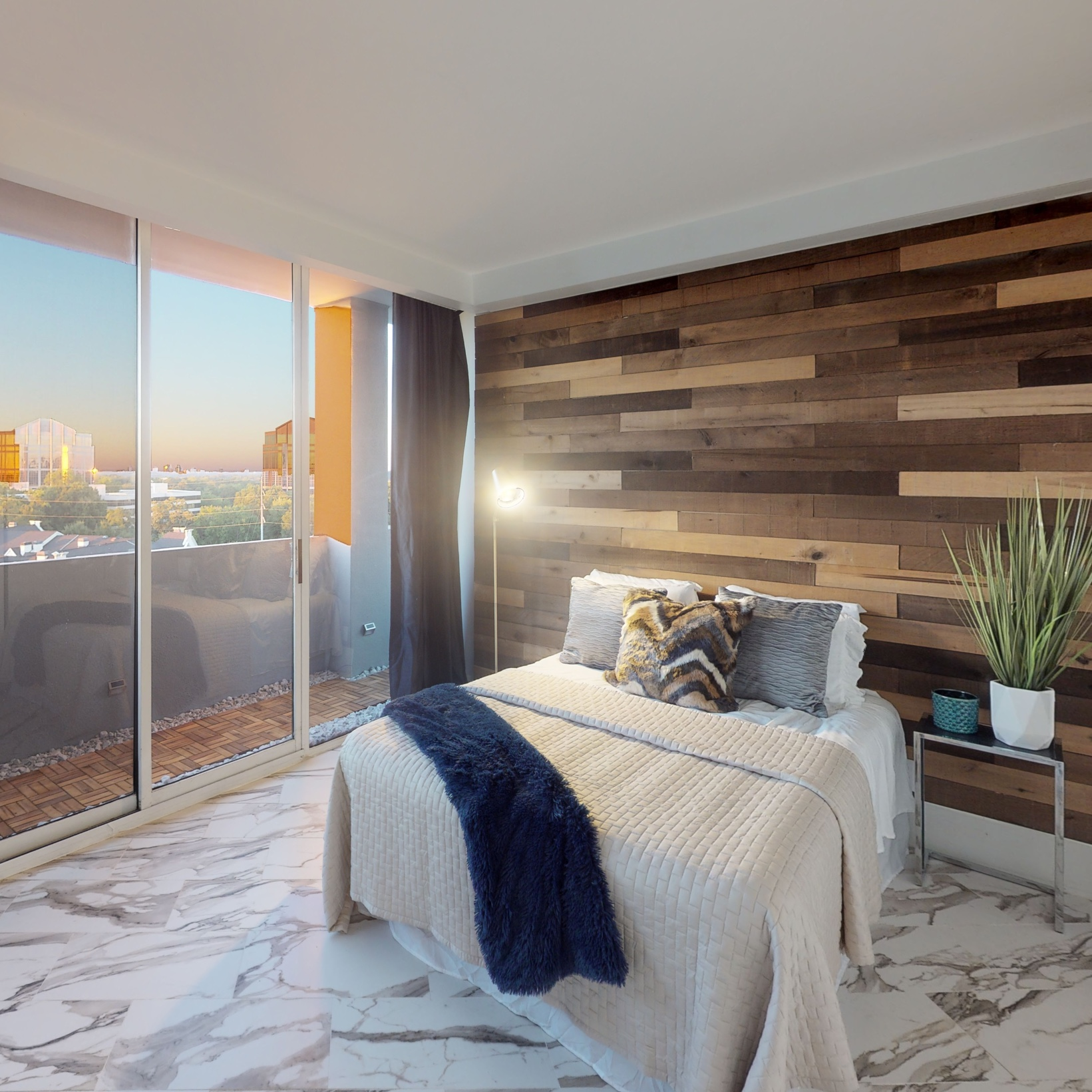 Sunny bedroom of a high-rise condo