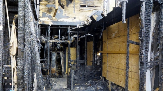 Extensive fire damage, from floor to ceiling