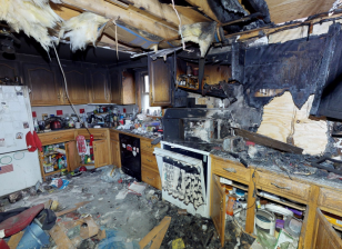 Interior view of an insurance loss found in 3D digital twin documentation