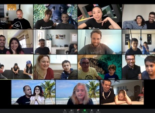 Gallery view of Zoom meeting with Matterport kids and RJ