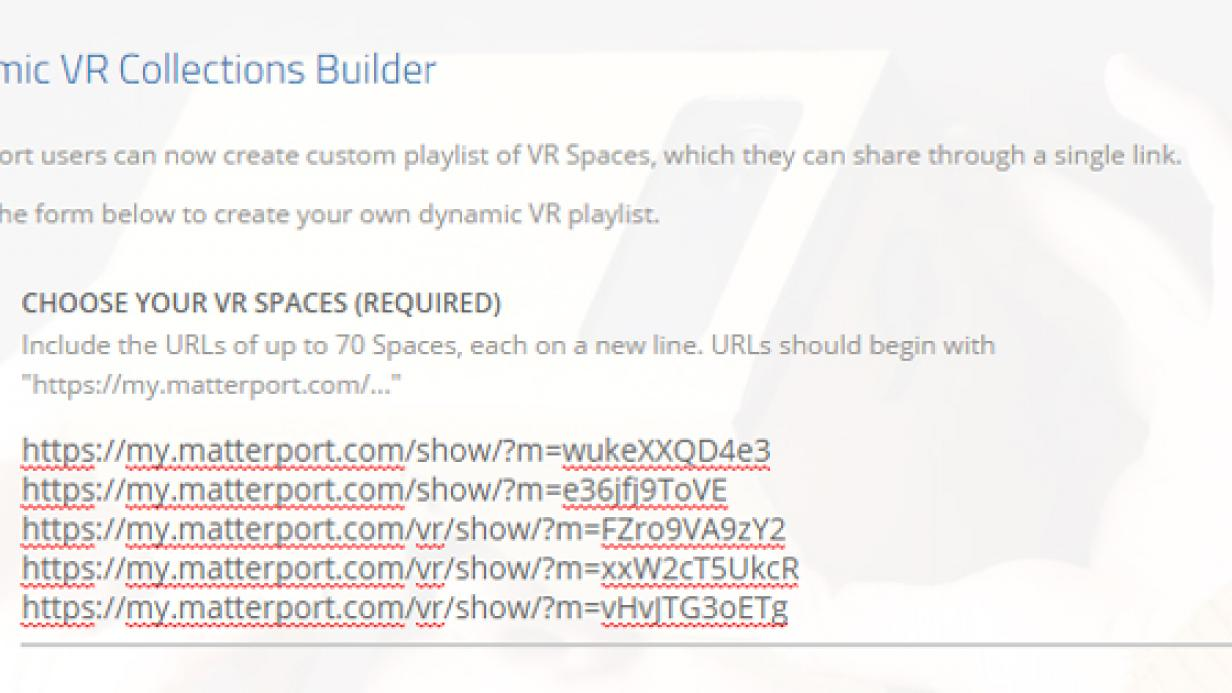 Dynamic VR collection builder
