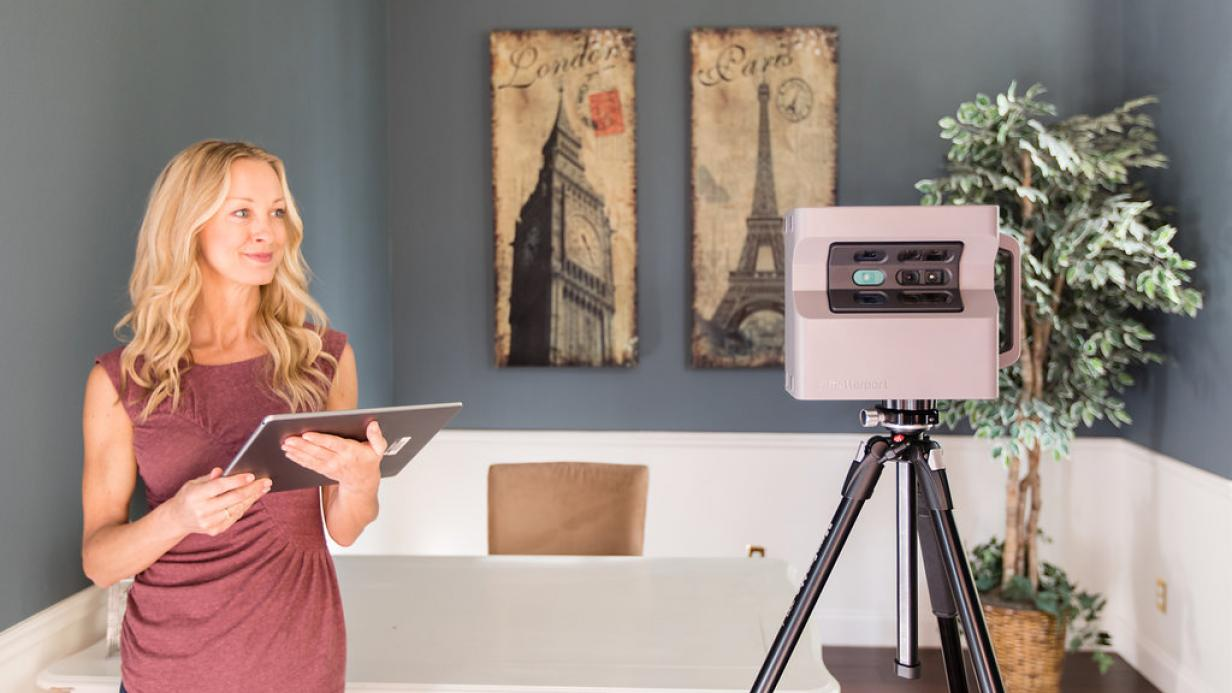 Woman with Matterport camera